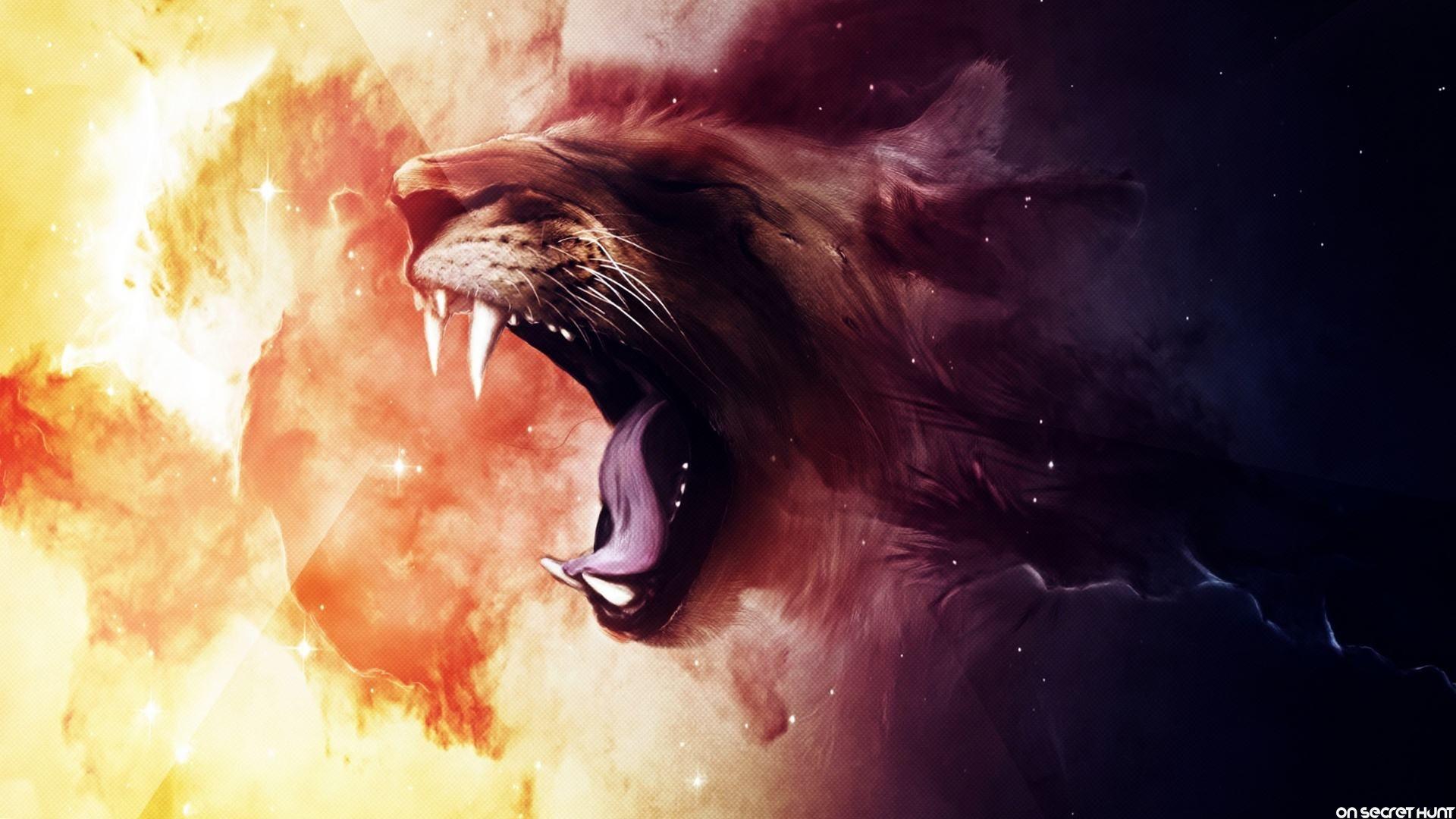 Roaring-Animated-Lion-Wallpaper